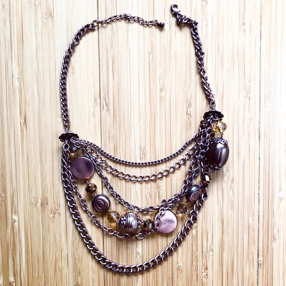 Women Artsy Brown Strand Bohemian Fashion Necklace Turquoise Blue Flower Charms